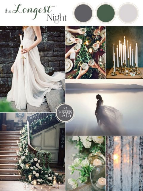 The Longest Night - Enchanting Winter Solstice Wedding Inspiration in Gray and Green with Romantic Candlelight & The Longest Night - Winter Solstice Inspiration | Hey Wedding Lady