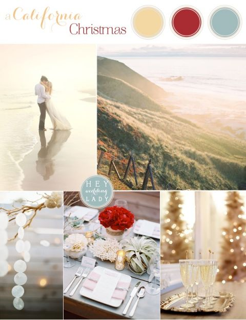 California Christmas Wedding Inspiration in Gold, Red, and Sea Green