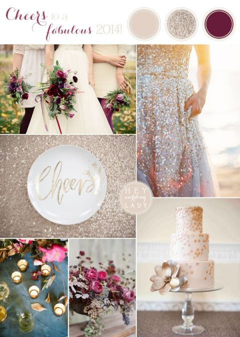 Shimmering Champagne and Pomegranate New Years Wedding Inspiration