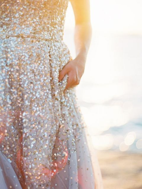 BHLDN Champagne Sequin Wedding Dress | Jeremiah and Rachel Photography