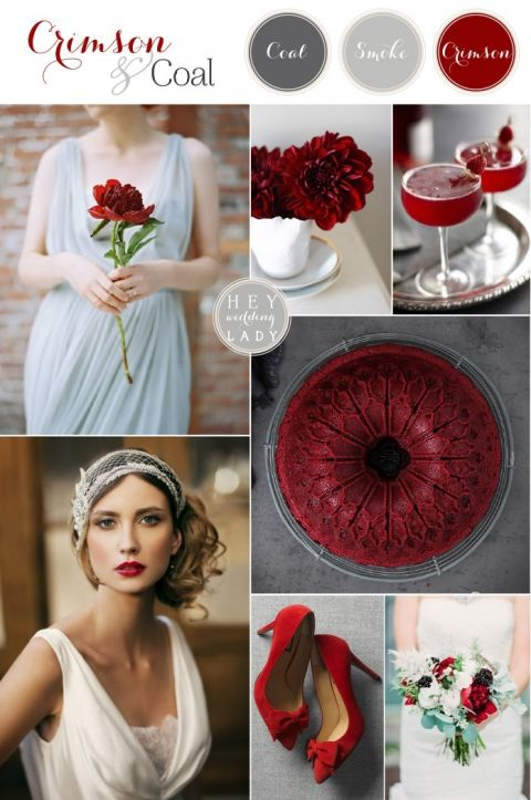 Crimson and Coal - Glam Red and Gray Winter Wedding