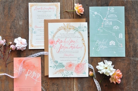 Watercolor Wedding Invitation Julie Song Ink