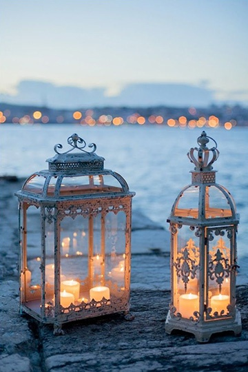 Wrought Iron Lanterns Filled with Candles   Piteira Photography