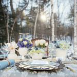 Blue and White Winter Tablescape |Carla Ten Eyck Photography | Winter Chic - Cozy White and Blue Snowy Forest Wedding