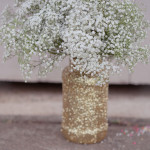 Handmade Gold Glitter Mason Jars with Baby's Breath | Erin Nicastro Photography