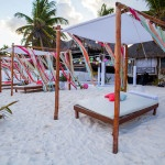 Festive Cabanas with Coral and Aqua Ribbons | Whyman Photography