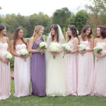 Bridesmaids in Blush and the Maid of Honor in Purple| Erin Nicastro Photography