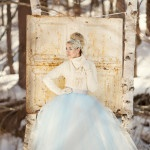 White Cashmere Sweater with a Blue Tulle Ball Gown | Winter Chic - Cozy White and Blue Snowy Forest Wedding
