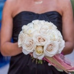 Elegant Ivory Roses with a a Black Bridesmaids' Dress | Whyman Photography