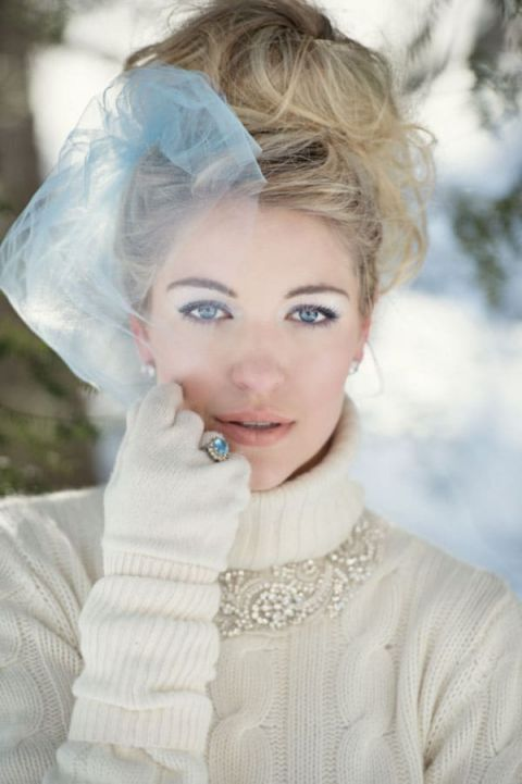 Vintage Winter Bridal Style | Carla Ten Eyck Photography | Winter Chic - Cozy White and Blue Snowy Forest Wedding
