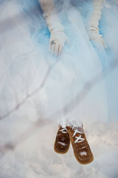 Blue Tulle Ballgown for a Winter Wedding | Carla Ten Eyck Photography | Winter Chic - Cozy White and Blue Snowy Forest Wedding