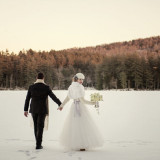 Frozen Lake Wedding Portraits | Carla Ten Eyck Photography | Winter Chic - Cozy White and Blue Snowy Forest Wedding