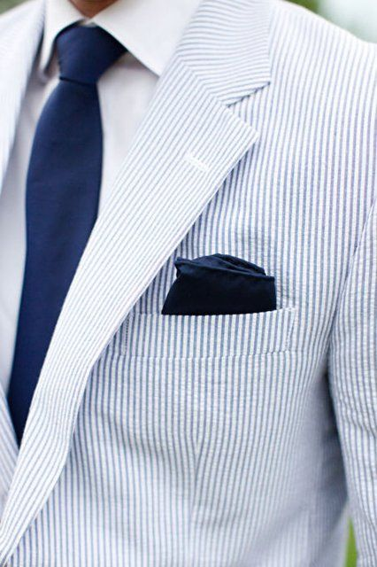 Blue and White Seersucker Linen Suit   Jessica Smith Photography
