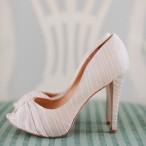 Striped Silk Peep Toe Bridal Shoes | Rebecca Arthurs Photography