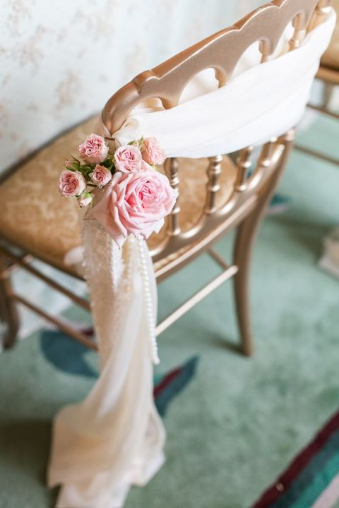 Chiffon and Rose Draped Ballroom Chair | Joseph Matthew Photography