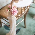 Chiffon and Rose Draped Ballroom Chair | Joseph Matthew Photography