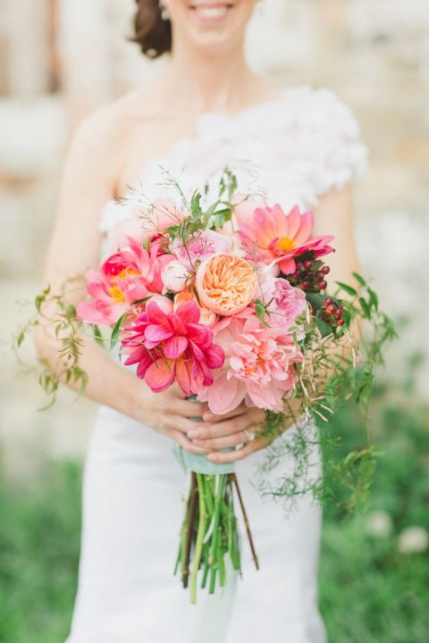 Coral and Pink Bridal Bouquet   Apryl Ann Photography