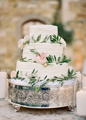 Elegant Rustic Olive Branch Wedding Cake | Jose Villa