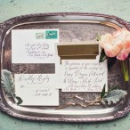 Antique Silver Tea Tray and Wedding Stationary | Peaches and Mint Photography