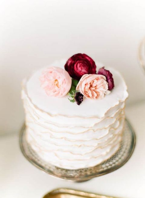 Petite Wedding Cake with Gilded Ruffles | Kina Wicks