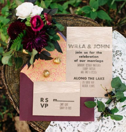 Rich Plum and Natural Wedding Invitation Suite | Ashley D Photography