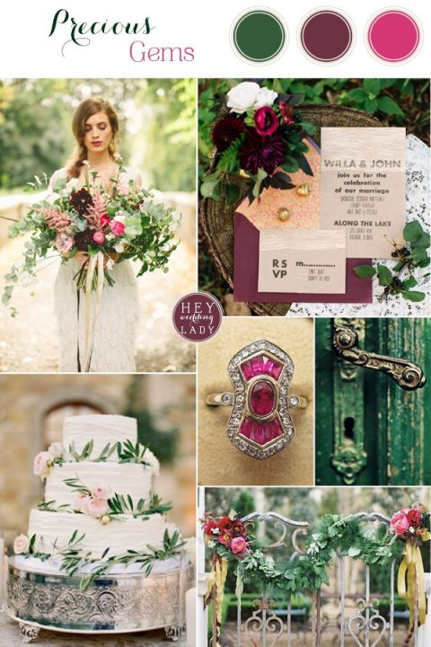 Precious Gems - Emerald and Fuchsia Wedding Inspiration