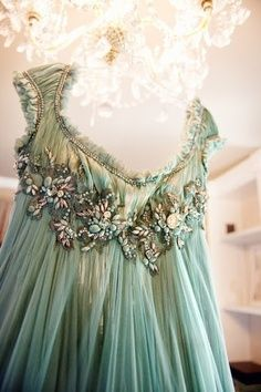 Vintage Jeweled Ball Gown in Mint