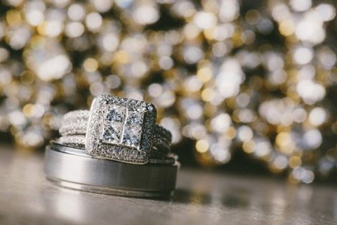 Square Cut Engagement Ring and Tungsten Grooms Band | Robert J Hill Photography | See More: http://heyweddinglady.com/simple-and-elegant-grand-bohemian-hotel-wedding-from-robert-j-hill-photography/