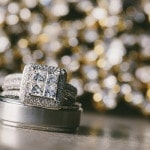 Square Cut Engagement Ring and Tungsten Groom's Band | Robert J Hill Photography | See More: http://heyweddinglady.com/simple-and-elegant-grand-bohemian-hotel-wedding-from-robert-j-hill-photography/