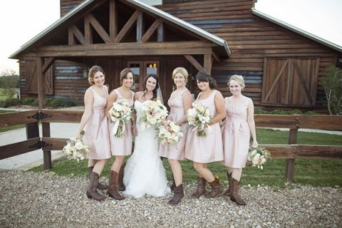 Bridesmaids in Blush and Cowboy Boots! | Barefeet Photography | see More: https://heyweddinglady.com/blush-and-ivory-spring-wedding-at-thistle-springs-ranch-from-barefeet-photography/