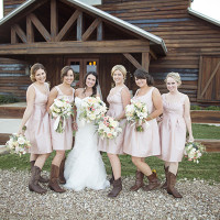 Bridesmaids in Blush and Cowboy Boots! | Barefeet Photography | see More: http://heyweddinglady.com/blush-and-ivory-spring-wedding-at-thistle-springs-ranch-from-barefeet-photography/