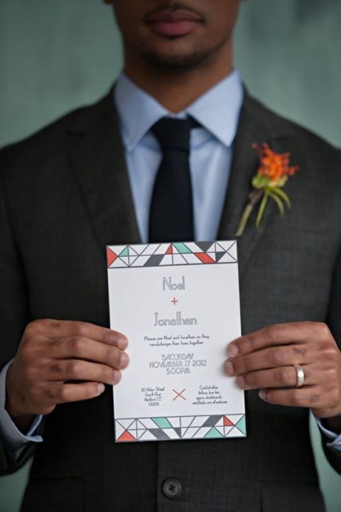 Modern Geometric Wedding Invitation in Aqua, Orange, and Slate | Carla Ten Eyck Photography | See More: http://heyweddinglady.com/industrial-modern-loft-wedding-shoot-by-carla-ten-eyck/