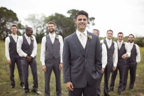 Groom and Groomsmen in Sharp Gray Suits | Barefeet Photography | see More: https://heyweddinglady.com/blush-and-ivory-spring-wedding-at-thistle-springs-ranch-from-barefeet-photography/