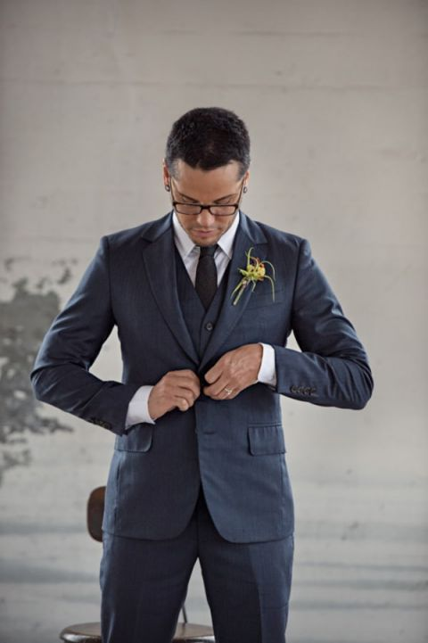 Sleek Three Piece Charcoal Gray Suit | Carla Ten Eyck Photography | See More: http://heyweddinglady.com/industrial-modern-loft-wedding-shoot-by-carla-ten-eyck/