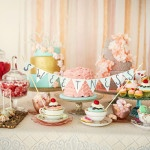 Pastel Pink, Aqua, and Yellow Dessert Display | Maru Photography | See More: https://heyweddinglady.com/sweeter-than-candy-retro-valentines-day-styled-shoot-in-pastel-hues-from-maru-photography/
