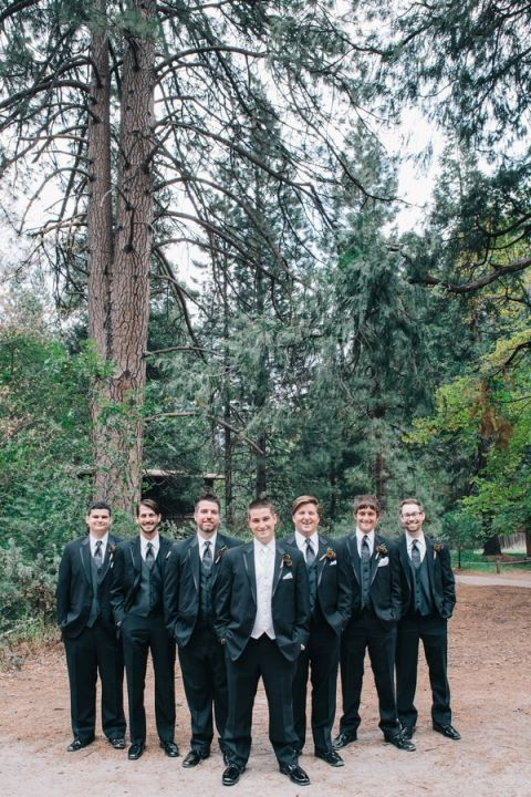 Groom and Groomsmen in Three Piece Suits for a Mountain Wedding   Lisa Mallory Photography