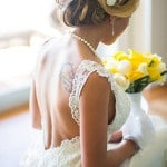 Low Cut Lace Back Wedding Dress | The Story Photography | See More: http://heyweddinglady.com/navy-and-yellow-nautical-chic-destination-wedding-in-paradise/