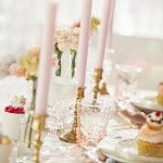 Blush and Peach Pastel Centerpieces | Maru Photography | See More: https://heyweddinglady.com/sweeter-than-candy-retro-valentines-day-styled-shoot-in-pastel-hues-from-maru-photography/