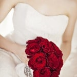 Lush Red Rose Bridal Bouquet| Maru Photography | http://heyweddinglady.com/glamorous-red-white-blush-wedding-inspiration-time-valentines-day/