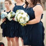 Bridesmaids in Navy and White for a Nautical Chic Wedding| Sikora Photography