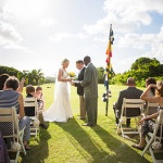 Sunny Tropical Ceremony | The Story Photography | See More: https://heyweddinglady.com/navy-and-yellow-nautical-chic-destination-wedding-in-paradise/