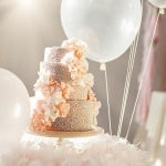 Peach and Sparkles Ruffle Wedding Cake | Maru Photography | See More: https://heyweddinglady.com/sweeter-than-candy-retro-valentines-day-styled-shoot-in-pastel-hues-from-maru-photography/