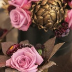 Purple and Gold Centerpieces with Gilded Artichokes | Allyson Wiley