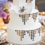 Glamorous Gold and Black Art Deco Wedding Cake | Allyson Wiley