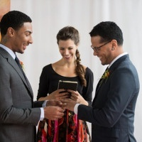 Modern Handfasting Ceremony | Carla Ten Eyck Photography | See More: https://heyweddinglady.com/industrial-modern-loft-wedding-shoot-by-carla-ten-eyck/