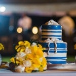 Blue and White Nautical Wedding Cake | The Story Photography | See More: https://heyweddinglady.com/navy-and-yellow-nautical-chic-destination-wedding-in-paradise/