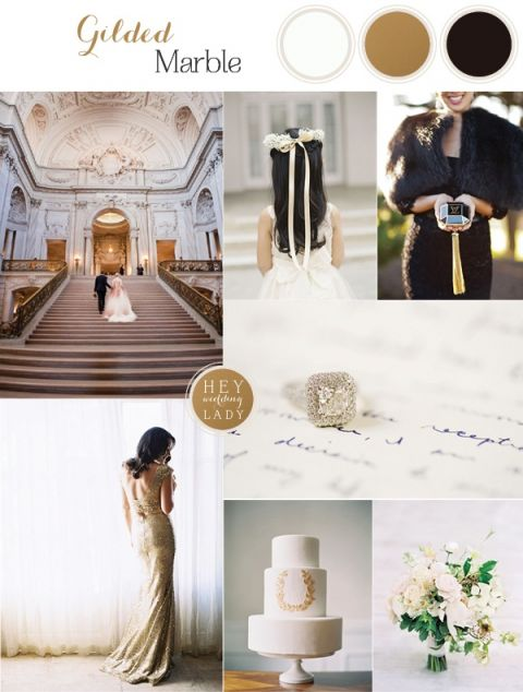 Luxurious Ivory, Black, and Gold Wedding Inspiration based on the Glamorous San Francisco City Hall! See More: https://heyweddinglady.com/luxurious-ivory-black-gold-wedding-design-inspired-san-francisco-city-hall/