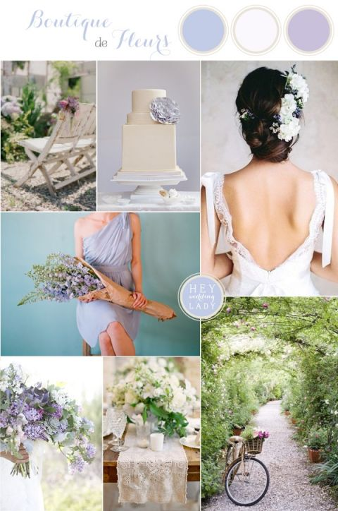 Boutique de Fleurs - French Flower Shop Wedding Inspiration in Blue and Purple | see more https://heyweddinglady.com/boutique-de-fleurs-french-flower-shop-wedding-inspiration-blue-purple/