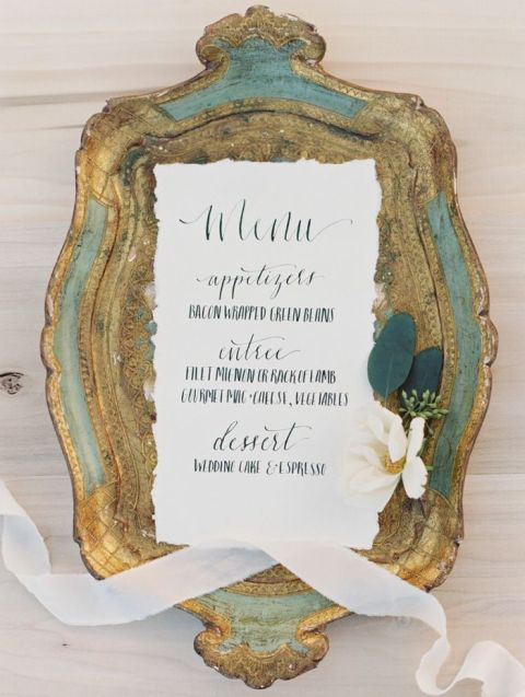Vintage Brass Tray with Calligraphy Wedding Invitation | Brushfire Photography | See More: https://heyweddinglady.com/the-summer-isles-mediterranean-wedding-inspiration-in-olive-patina-and-jade/