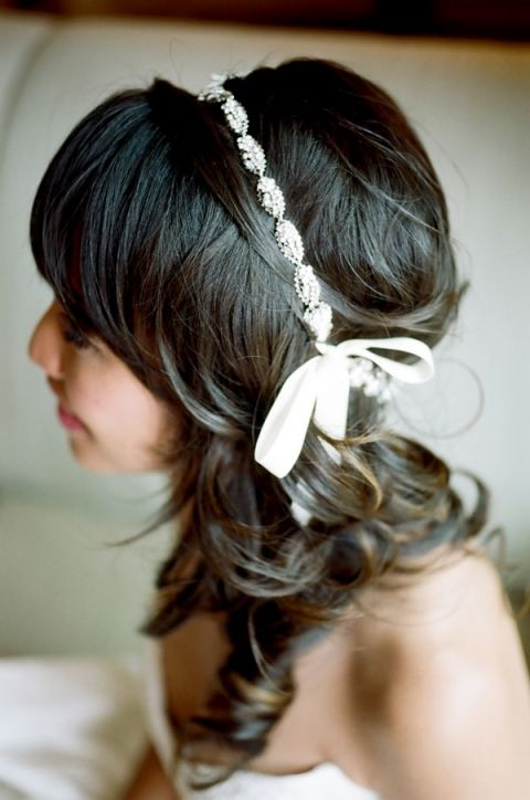 Elegant Bridal Hairstyle with a Glittering Band | Tikko Weddings |See More: https://heyweddinglady.com/classic-and-glamorous-blush-and-gold-socal-wedding-from-tikko-weddings/
